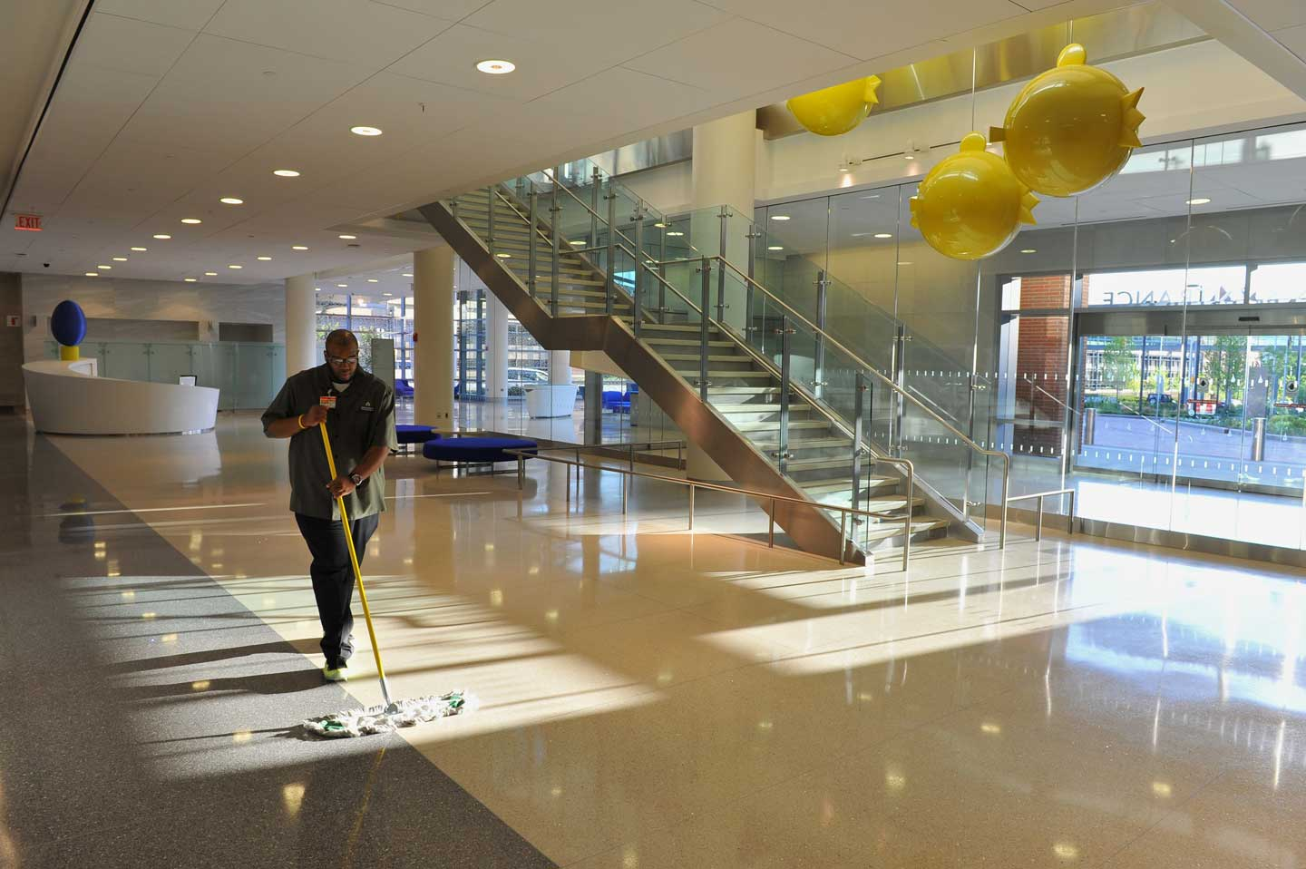 A final clean sweep by Environmental Service's Jordan Fields in the Bloomberg Children's    Center.