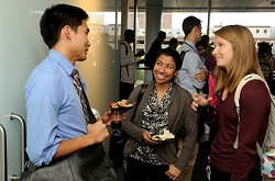 Ph.D. and M.D. students mingle during the inaugural Partnering Toward Discovery event