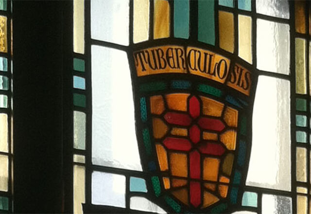 Detail of a stained glass window