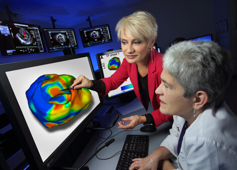 "Natalia Trayanova, left, and Jane Crosson say the model ""is like having a virtual electrophysiology lab where we can predict best outcomes before we even touch the patient."