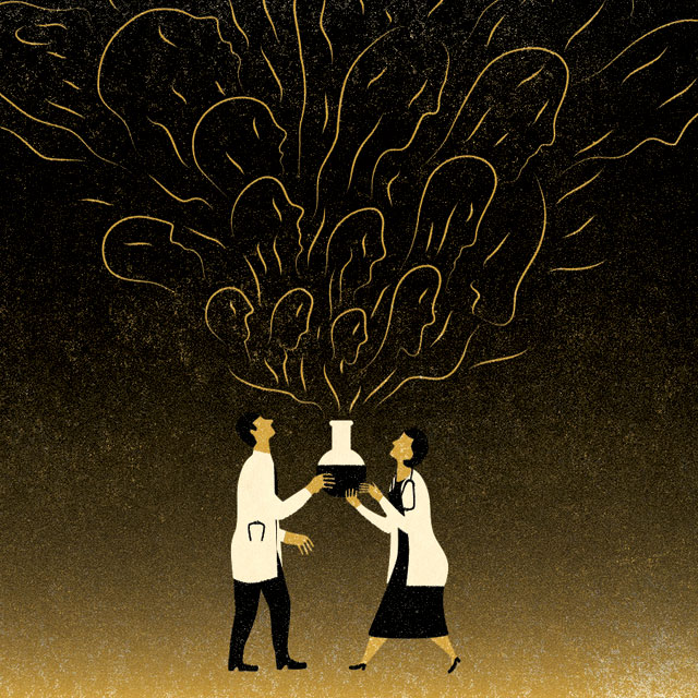 illustration of ghosts coming out of a beaker held by 2 medical professionals