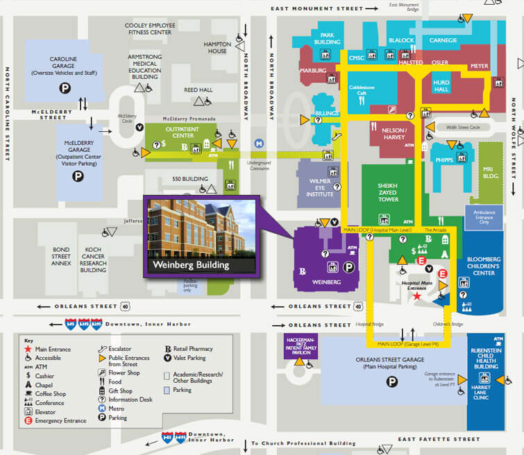 Johns Hopkins Hospital Map Getting to The Harry and Jeanette Weinberg Building | The Johns