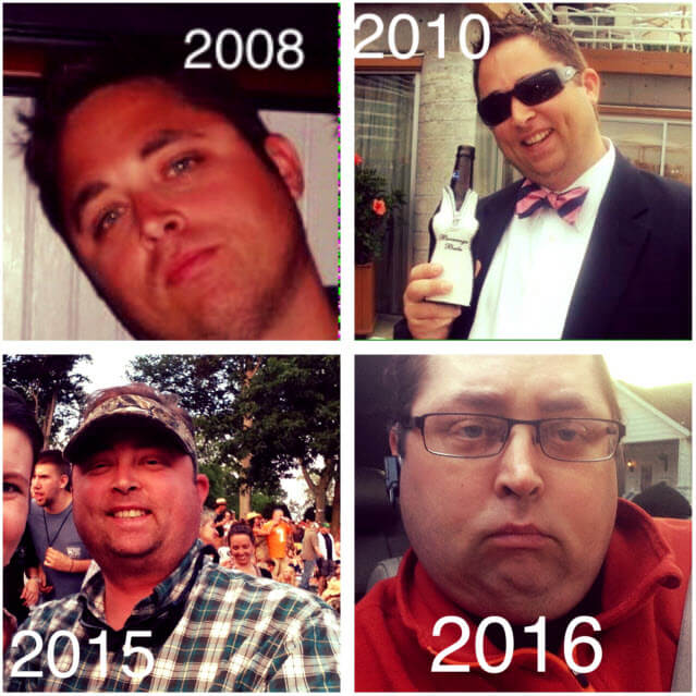 Neale's changing face in 2008, 2010, 2015 and 2016