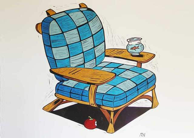 ARtwork of a blue, checkered chair, inspired by Dr. Seuss