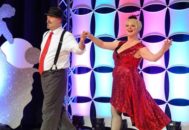 Jules Jung and Leslie Cope performing at the 2017 Dancing with the Hopkins Stars