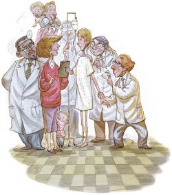 illustration of woman and child surrounded by physicians