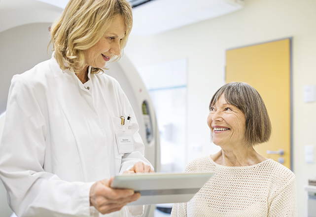 doctor talking to patient about scan results