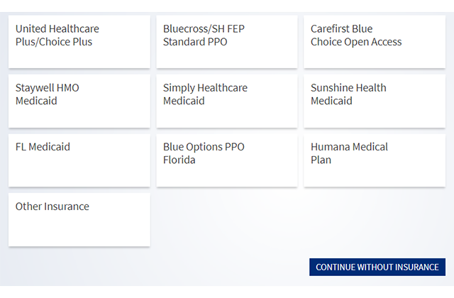 Selections for different insurances shown.