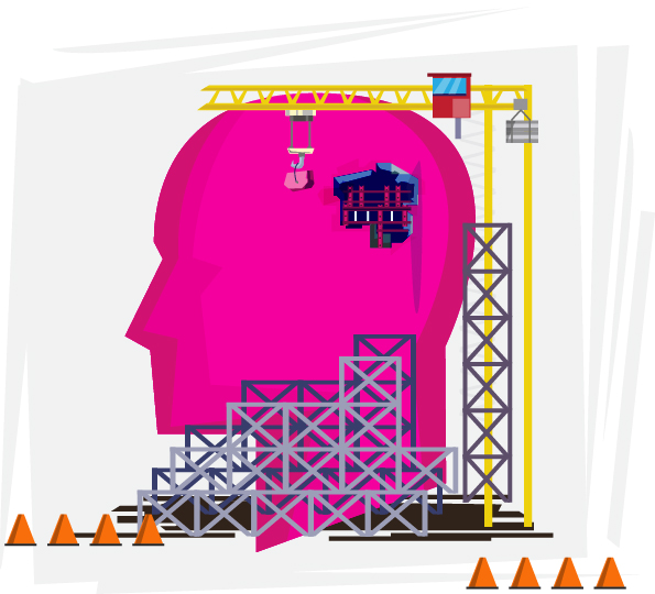 A graphic shows a skull with scaffolding around it.
