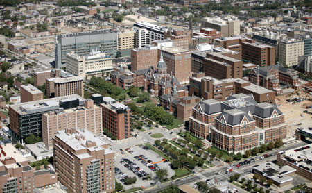 Arial view of Johns Hopkins medical campus