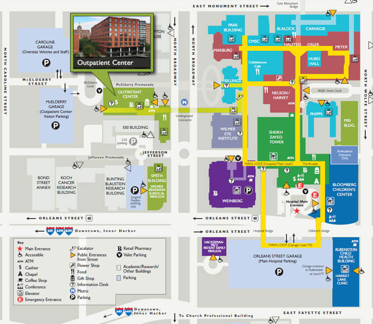 Campus map highlighting outpatient center