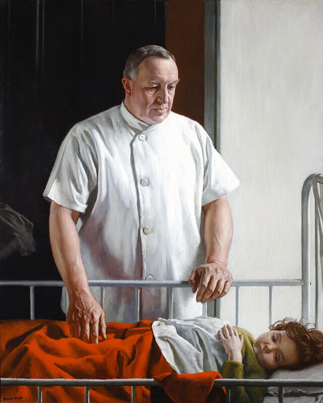 A painting of Dr. William S. Baer at a child's hospital bedside.