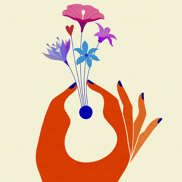 illustration of a hand and flowers forming a guitar