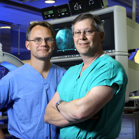 Jon Resar and John Conte are studying a minimally invasive approach for placing an aortic valve.