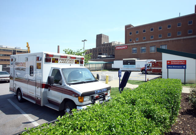 View of hospital ambulance bay and emergency entrance