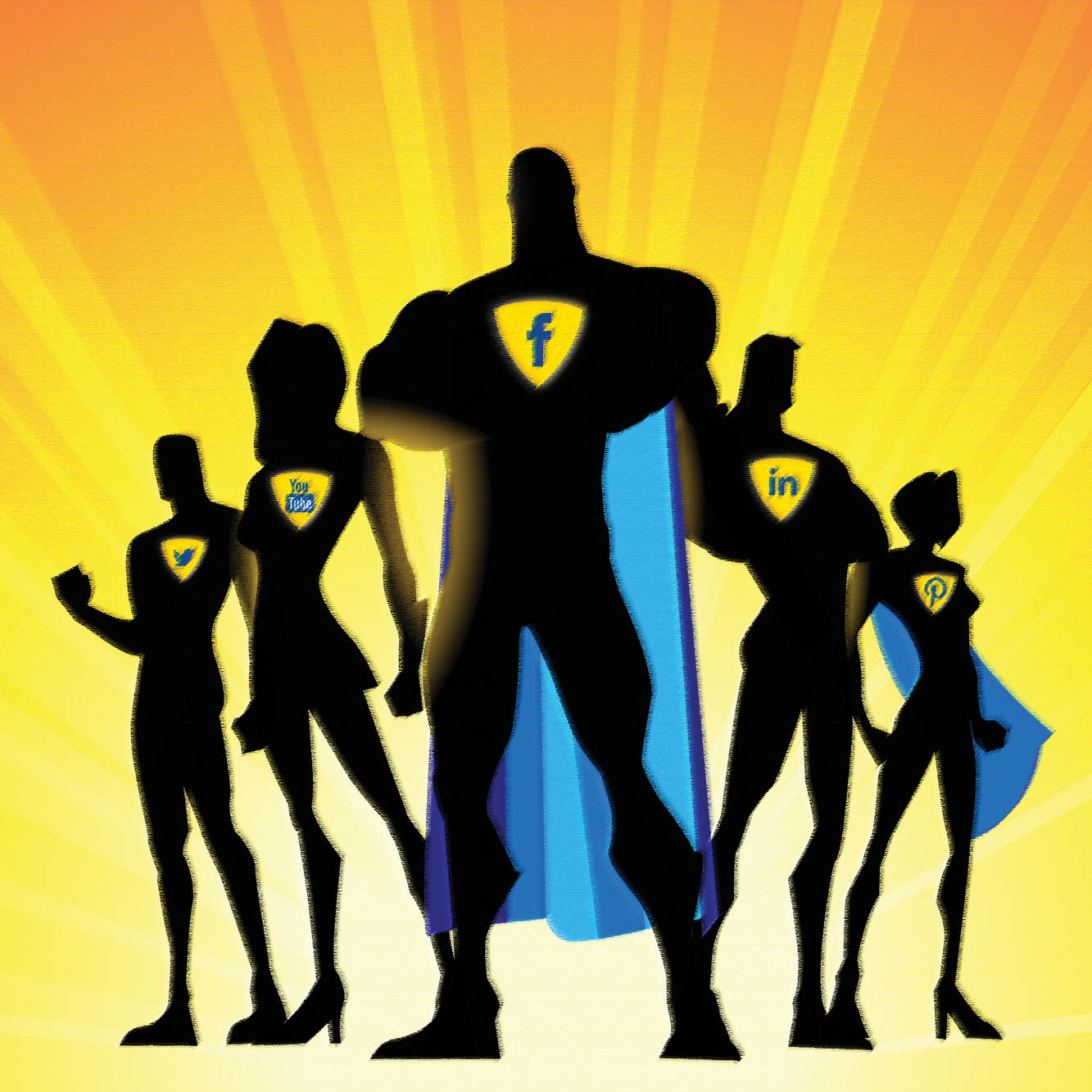 An illustration shows a group of silhouetted super heroes bearing different social media icons on their chests.