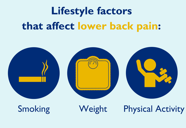 A graphic showing 3 factors affecting back pain
