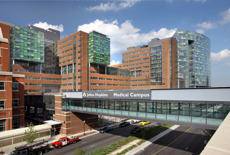 The Sheikh Zayed Tower, left, and The Charlotte R. Bloomberg Children's Center create an unprecedented front door for The Johns Hopkins Hospital.