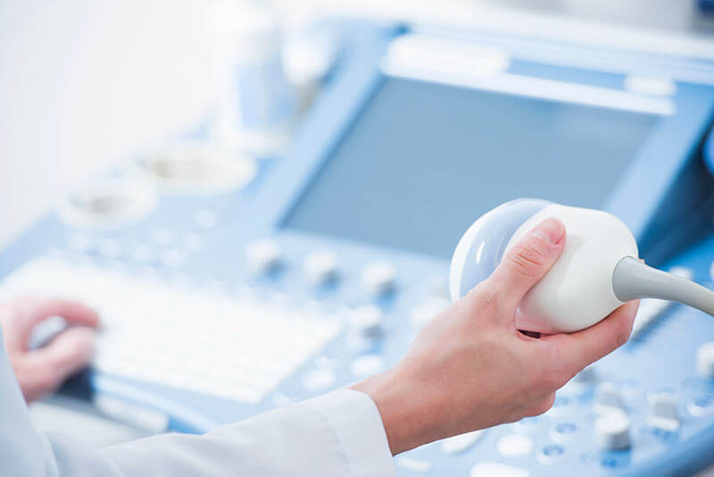 Ultrasound device to diagnose testicular cancer.