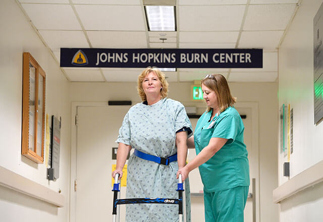patient in the burn center