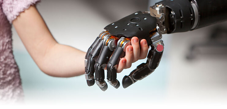 child holding hands with the thought-controlled prosthetic arm