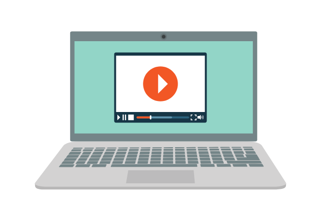 an illustration of a laptop playing a video