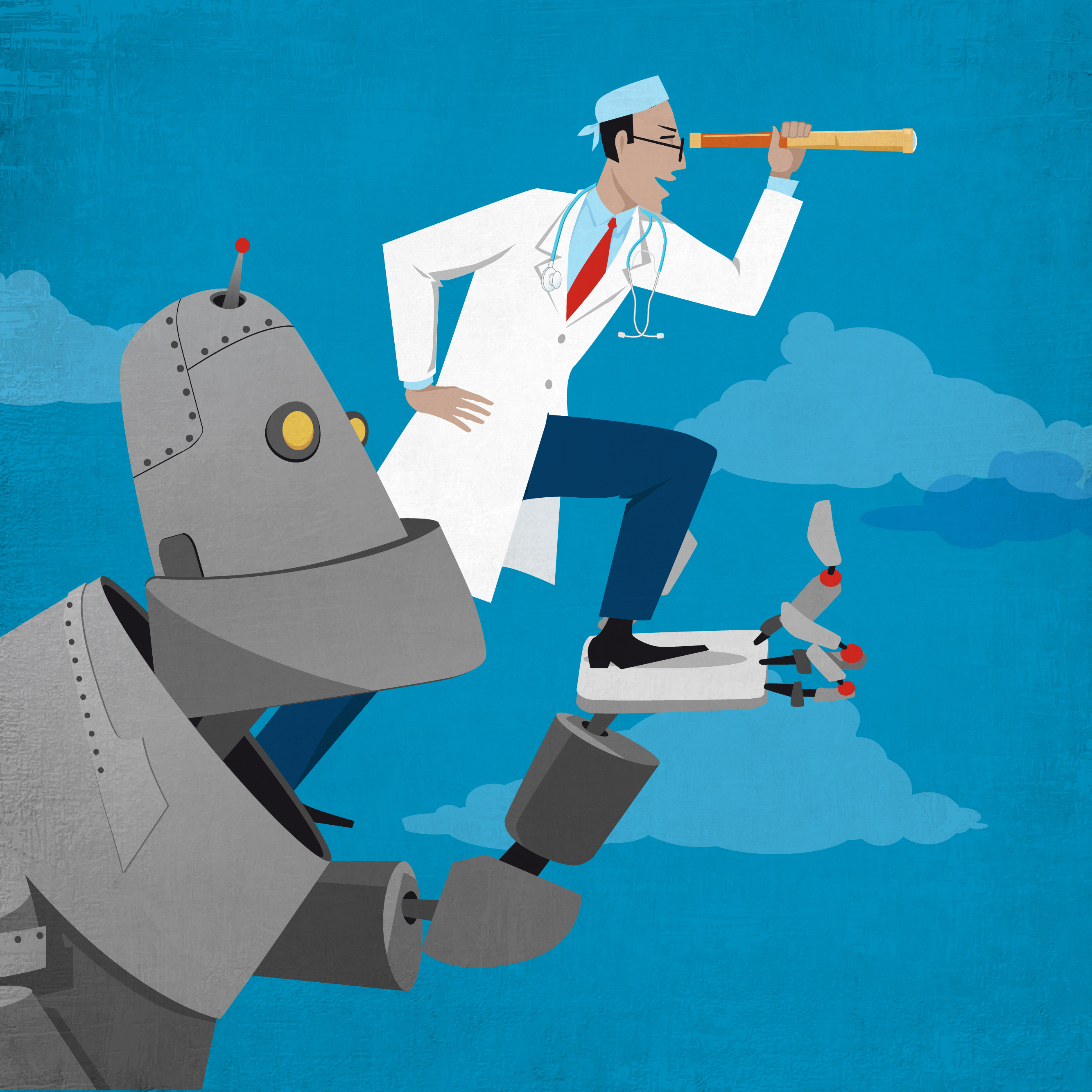 An illustration shows a robot representing artificial intelligence holding up a doctor who is peering through a telescope.