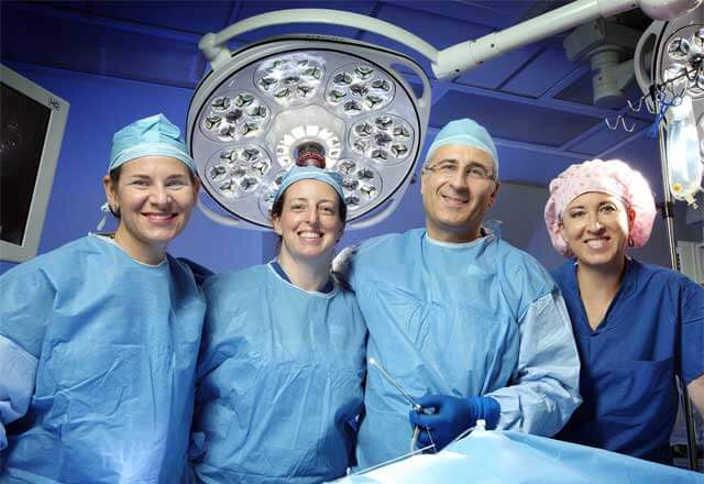 Fetal therapy team in OR