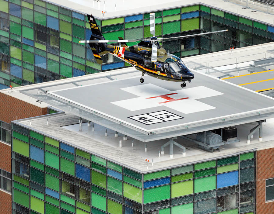 The new heliport landing pad is located on the roof of the Sheikh Zayed Tower at Johns Hopkins Hospital.