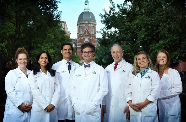 Left to right: Physician Assistant Melanie Burns, Endocrinologist Saytha Yalamanchi, Endocrinologist Nestoras Mathioudakis, Vascular Surgeon Christopher Abularrage, Surgical Podiatrist and Wound Care Specialist Ronald Sherman, Lead Physician Assistant Katy Tayman, Nurse Navigator Priscilla Frost
