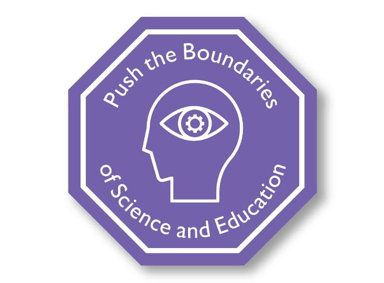 purple octagon with a line drawing of a head with an eye and the words Pushing the Boundaries of Science and Education