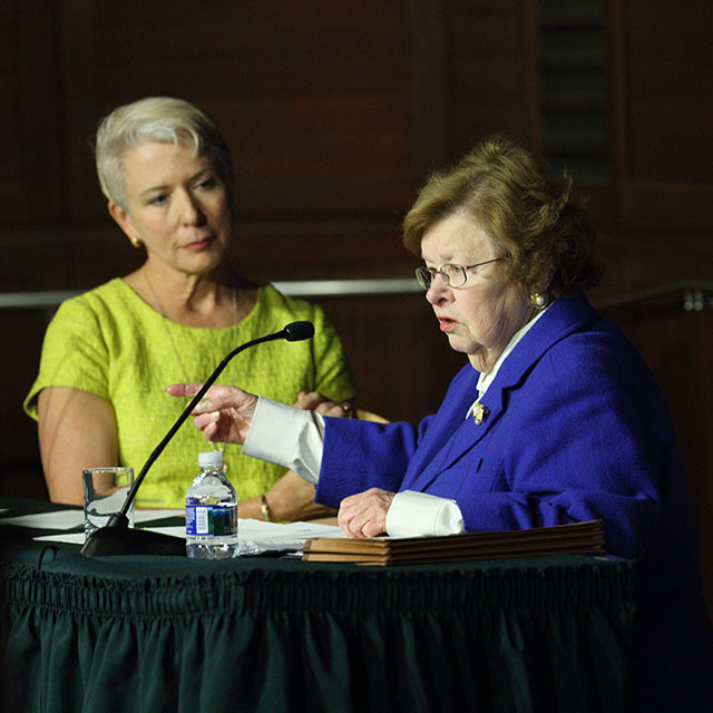 Sen. Barbara Mikulski (right), now a Johns Hopkins University professor and advisor to President Ron Daniel, answers a question from Elizabeth Tracey, director of electronic news media for the school of medicine.