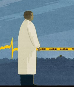 illustration of doctor. EKG on left, caution tape on right