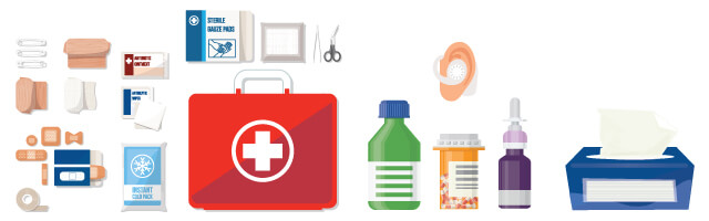 medication and hygiene items