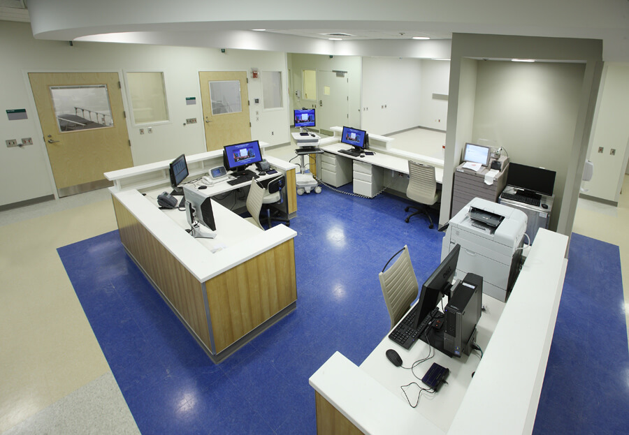 The new psychiatric unit's work station provides staff with a view of all patient rooms.