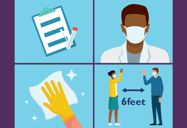 Illustrations demonstrating safety measures, such as a doctor wearing a mask, a gloved hand cleaning, and two people standing six feet apart.