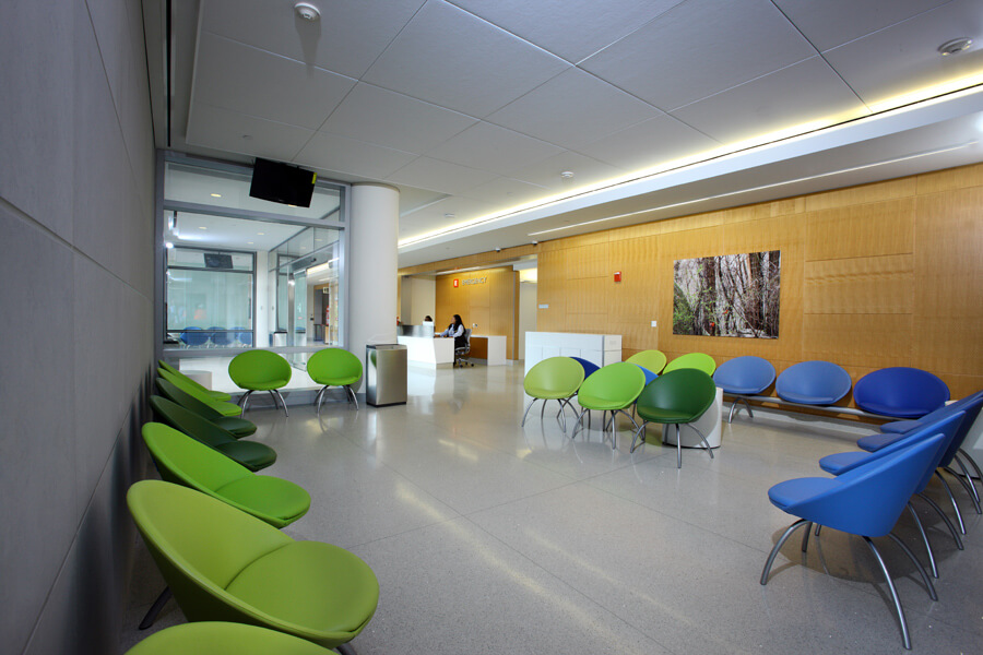 The new Emergency Department's front reception area is modern and comfortable.