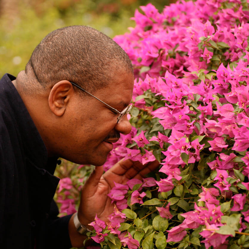 Man smelling bright pink flowers