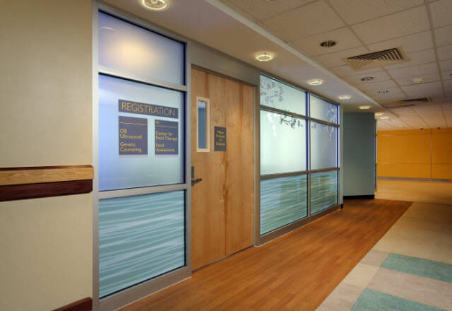 hallway in Nelson building leading to the entrance for the Center for Fetal Therapy