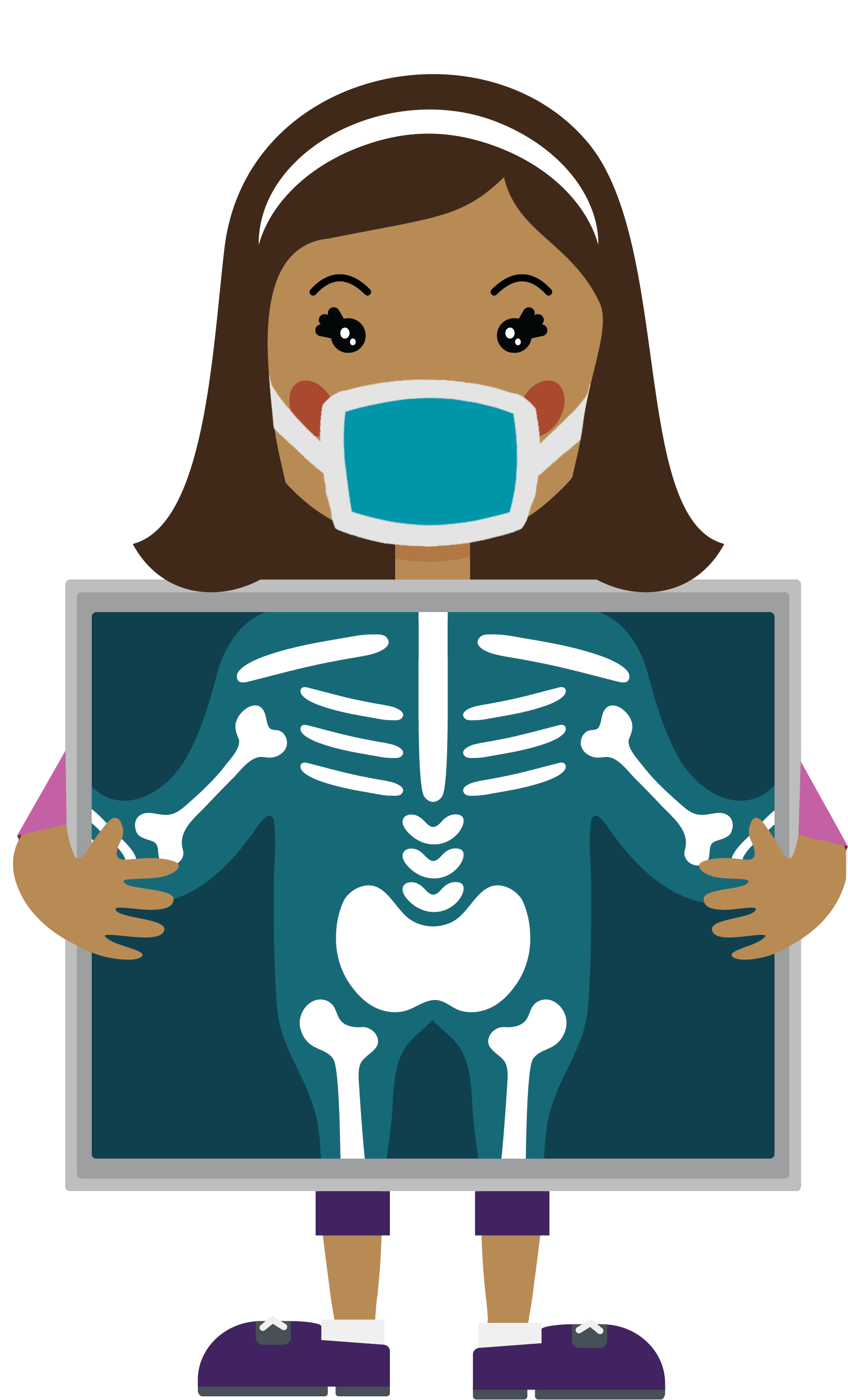 cartoon character holding x-ray with face mask on