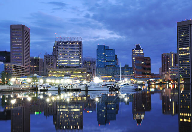 Baltimore city skyline in the evening