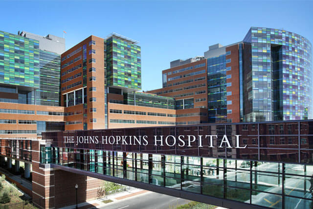 An exterior view of Johns Hopkins Hospital