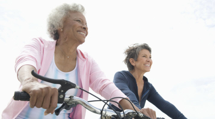 older women riding bikes