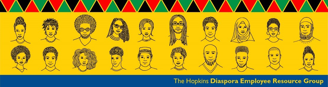 Illustrations of diverse faces to promote the Hopkins Diaspora Employee Resource Group.