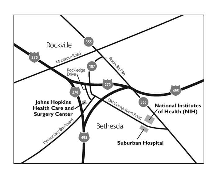 Area map of the Suburban Hospital locations and close-up map of the outpatient medical campus