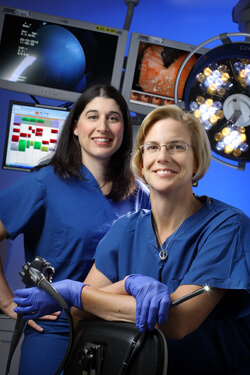Gastroenterologist Ellen Stein and colorectal surgeon Susan Gearhart team with colleagues on new tactics to counter fecal incontinence. Gearhart has implanted more than 20 sacral nerve stimulators since recent FDA approval.