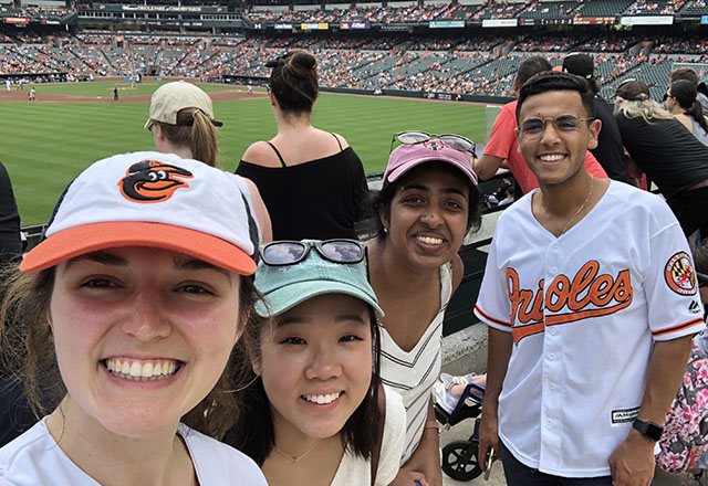 Students at an Orioles baseball game