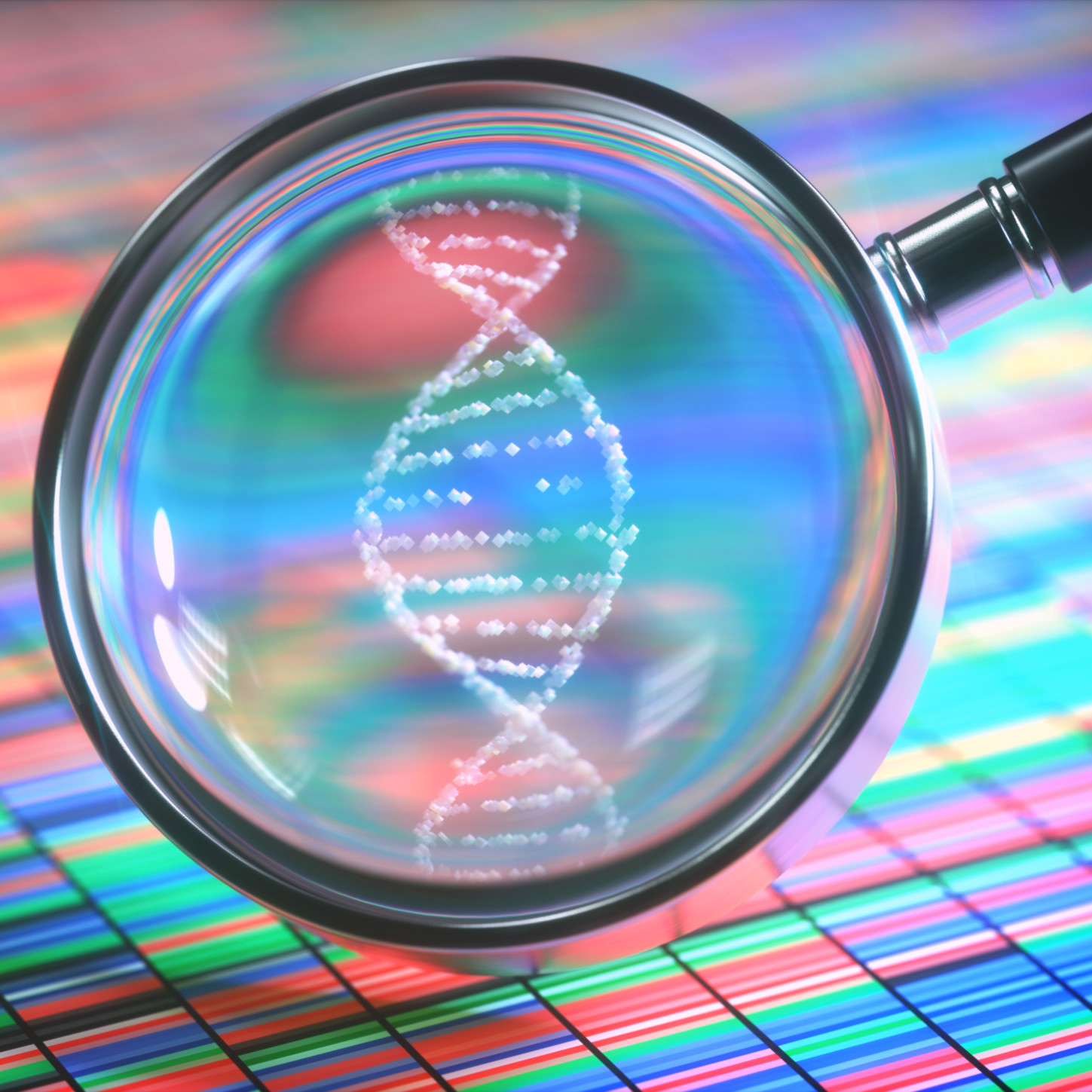 Magnifying glass enlarging an abstract digital illustration of DNA