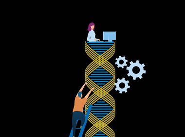 Illustration shows DNA strand and testing