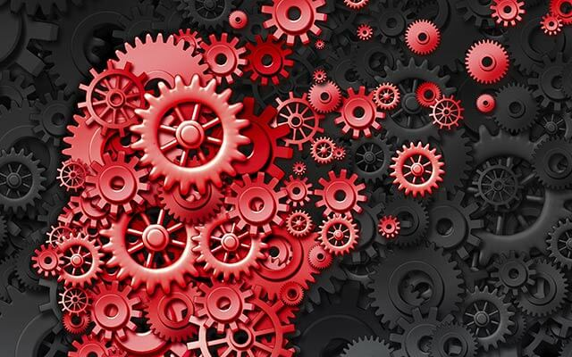 An illustration of turning gears, representing the complex inner workings of the mind.